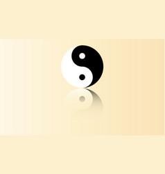 yin yang symbol with reflection vector image