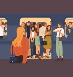 Young woman trying to enter subway train car full vector