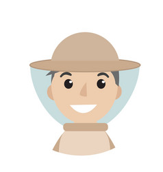 beekeeper man icon flat style character isolated vector image vector image
