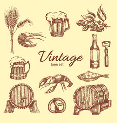beer vintage monochrome set vector image