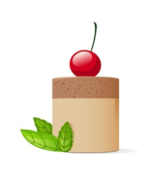 Cake decorated with cherry and mint leaves vector image vector image
