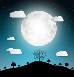 Full Moon with Clouds and Trees on Hill vector image