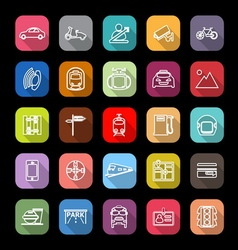 Land transport related line icons with long shadow vector image vector image