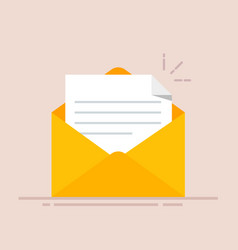 open envelope with a document new letter sending vector image vector image