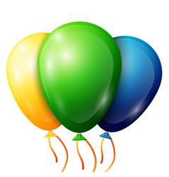 realistic green yellow blue balloons with ribbon vector image