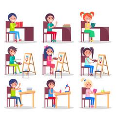 children do homework isolated set vector image