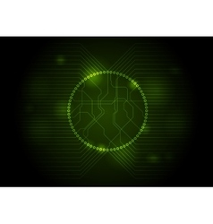 Dark green tech circuit board background vector image
