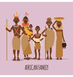 Happy african family mother father children and vector image vector image