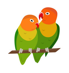 lovebird parrots icon in flat style vector image