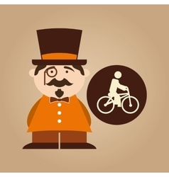 man hipster ridding bike icon design vector image