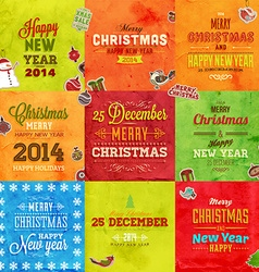 Retro Christmas Card Set vector image