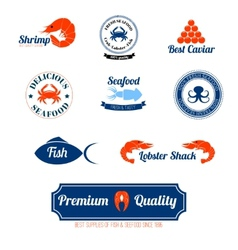 Seafood labels icons set vector image vector image