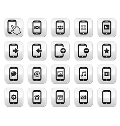 Smartphone mobile or cell phone buttons set vector image vector image