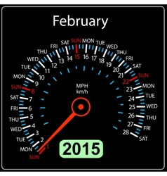 2015 year calendar speedometer car in February vector image vector image