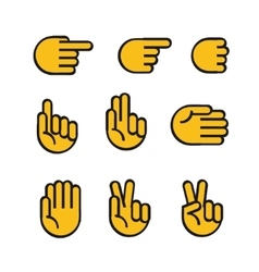 Cartoon style hands icons set vector image vector image