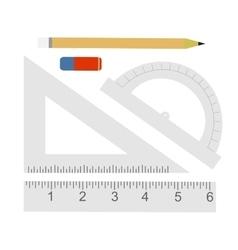 Education set Pencil eraser protractor vector image vector image