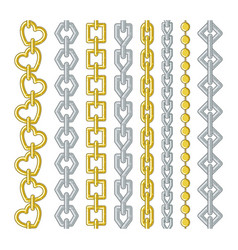 gold and silver chains collection set vector image