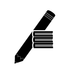 pencil and book stack icon vector image