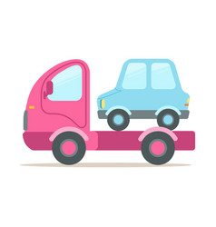 pink tow truck service of evacuation colorful vector image vector image