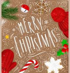 poster merry christmas craft vector image vector image