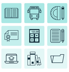 set of 9 school icons includes diploma library vector image vector image