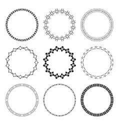 Set of black round frames with ornament vector