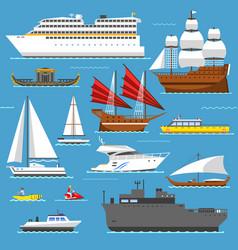 super set of water ships boats transport vector image vector image