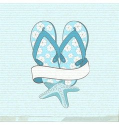 flip flops starfish and banner vector image
