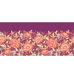 Golden flowers and leaves horizontal seamless vector image vector image