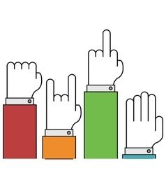 modern thin line flat hands gestures set vector image vector image