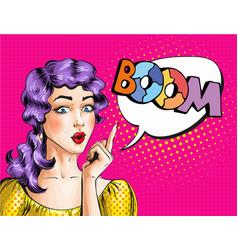 pop art of woman showing boom vector image