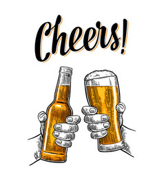 Two hands holding and clinking with beer glasses vector