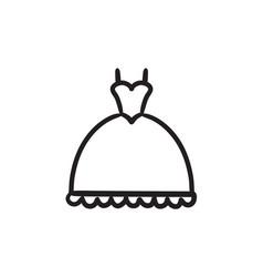 Wedding dress sketch icon vector