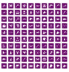 100 animals icons set grunge purple vector image