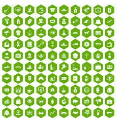 100 charity icons hexagon green vector