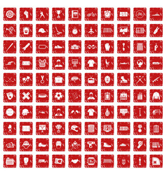 100 mens team icons set grunge red vector image