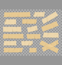 Adhesive or duct tape crumpled stripes mockups set vector