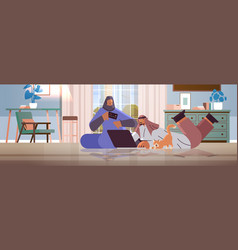 arab couple with credit card using laptop online vector image