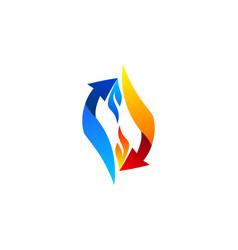 Arrow flames connection logo symbol icon design vector
