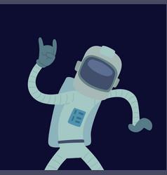Astronaut in space character having fun vector
