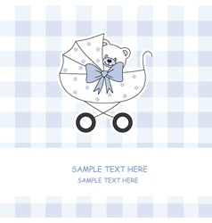 baby boy carriage with a teddy bear vector image