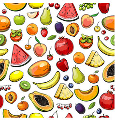 background with different fruits vector image