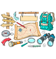 backpack camping gear hiking vector image