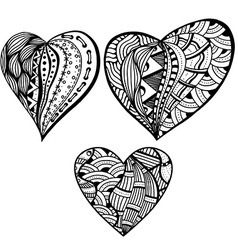 Black and White Abstract Love Heart Icon Set vector image