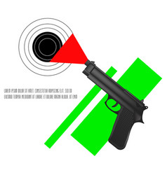 Black pistol short barreled small arms automatic vector