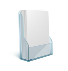 blank flyer glass or plastic transparent stand vector image