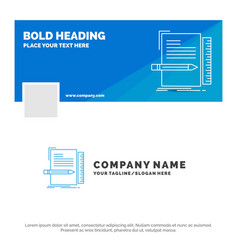 Blue business logo template for code coding file vector