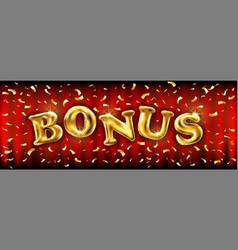 Bonus banner with golden ballons illuminated by vector