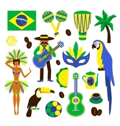 Brazil decorative set vector