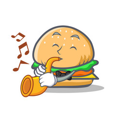 Burger character fast food with trumpet vector